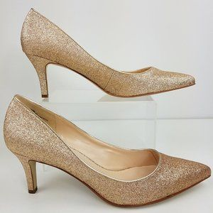 Nine West | Gold Glitter Party Heels 10M